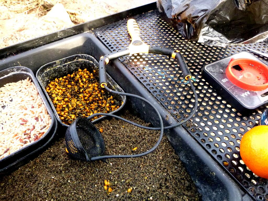Futter und Futterschleuder zum Friedfischangeln