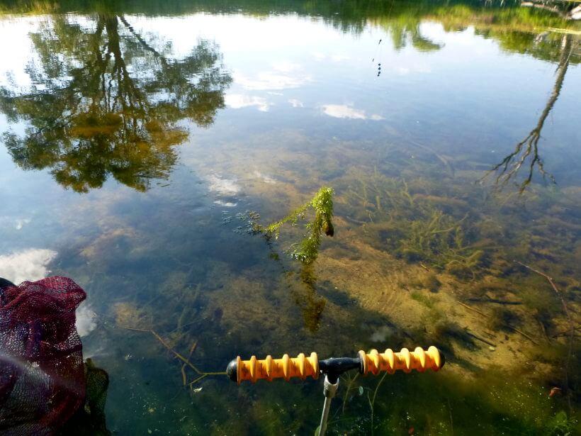 Winkelpickern mit Montage am Teich